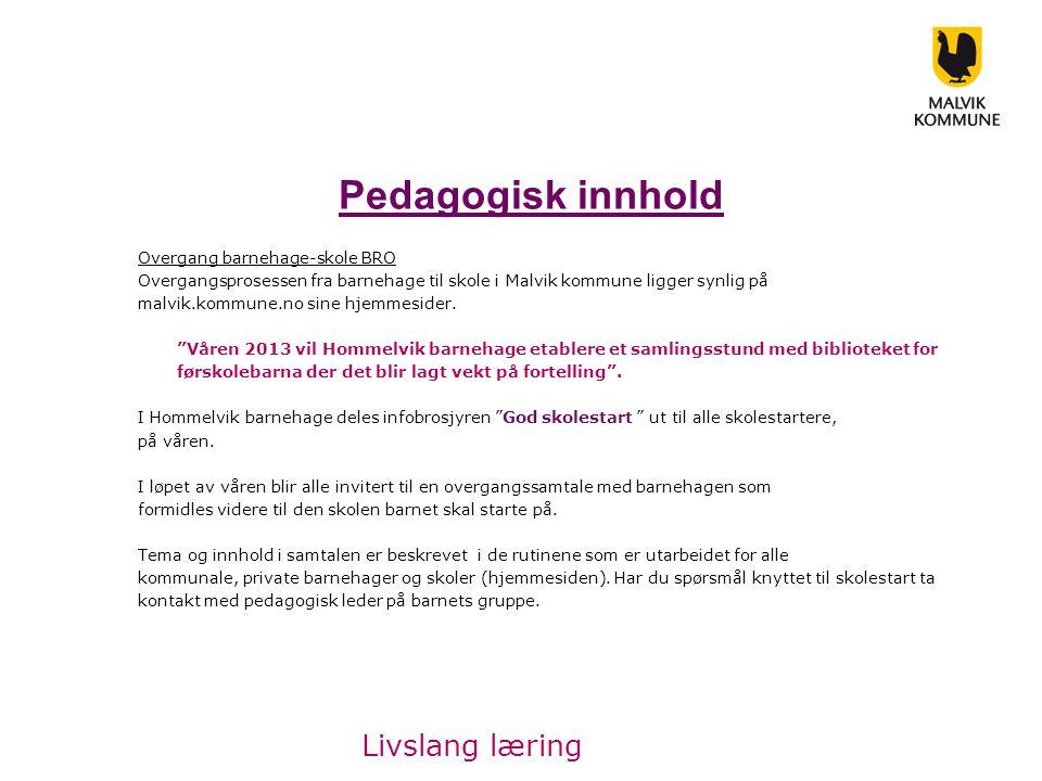 Pedagogisk innhold Overgang barnehage-skole BRO Overgangsprosessen fra barnehage til skole i Malvik kommune ligger synlig på malvik.kommune.no sine hjemmesider.