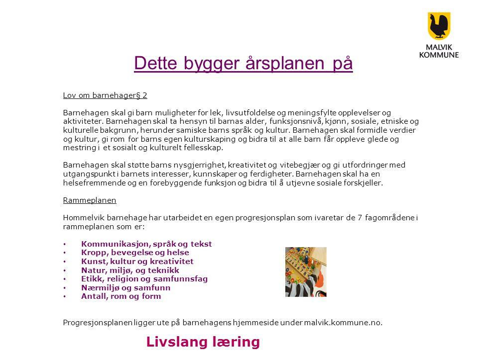 Dette bygger årsplanen på Kommuneplanens samfunnsdel I kommuneplanens samfunnsdel 2010-2021 står det i mål 6: at vi har gode betingelser for livslang læring.