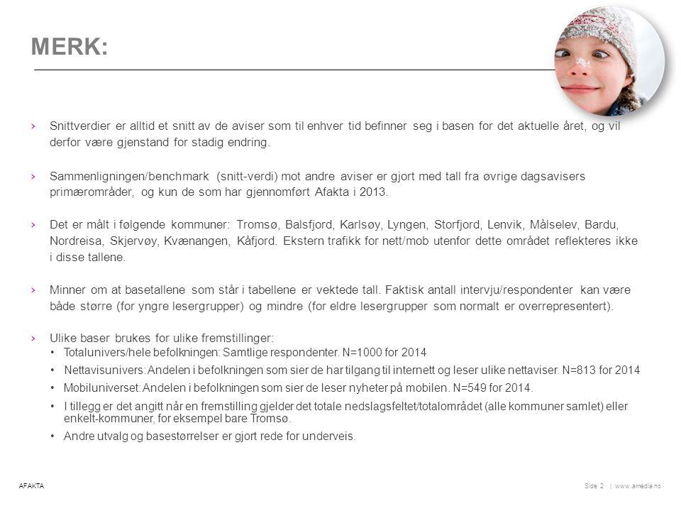   www.amedia.noSide POSISJON: PRIMÆR KILDE, BALSFJORD + 13 Utvikling: Balsfjord/Karlsøy/Lyngen/Storfjord: Vekst for Nordlys på nett, tilbake på papir.