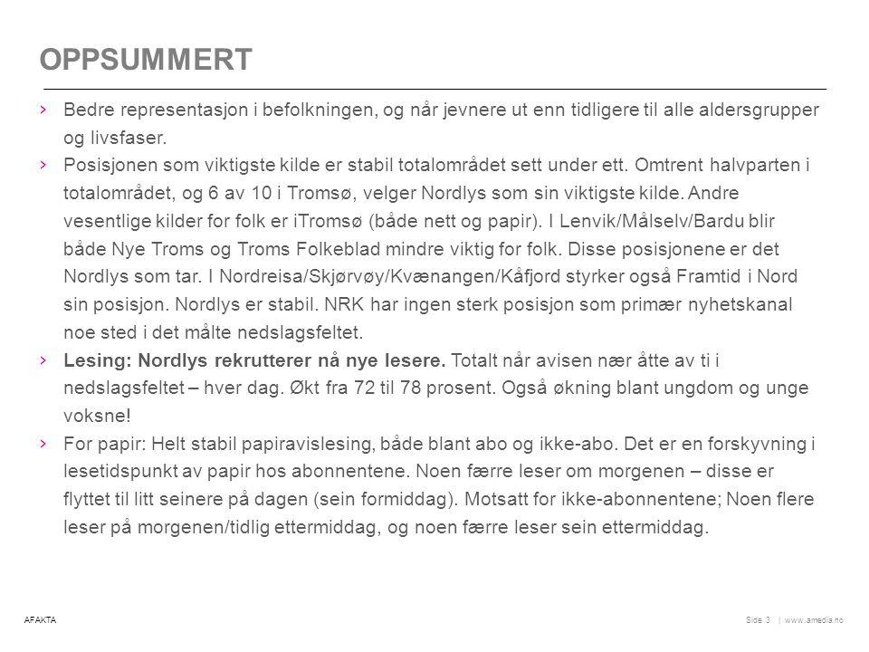   www.amedia.noSide nordlys.no: STØRST VEKST BLANT DE YNGSTE 24 Viser andel av totaluniverset (hele befolkningen) i prosent.