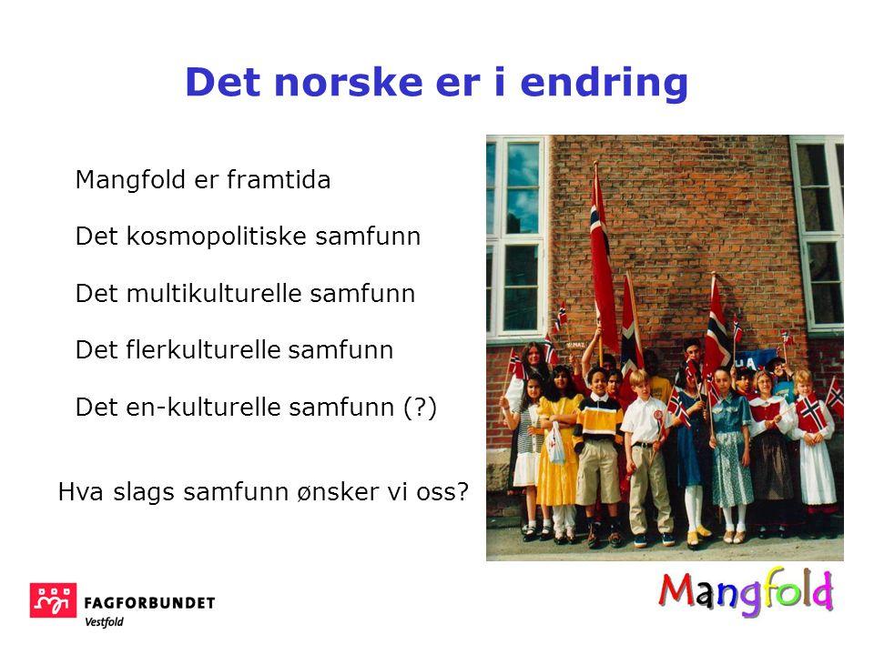 Mangfold er framtida Det kosmopolitiske samfunn Det multikulturelle samfunn Det flerkulturelle samfunn Det en-kulturelle samfunn (?) Det norske er i endring Hva slags samfunn ønsker vi oss?