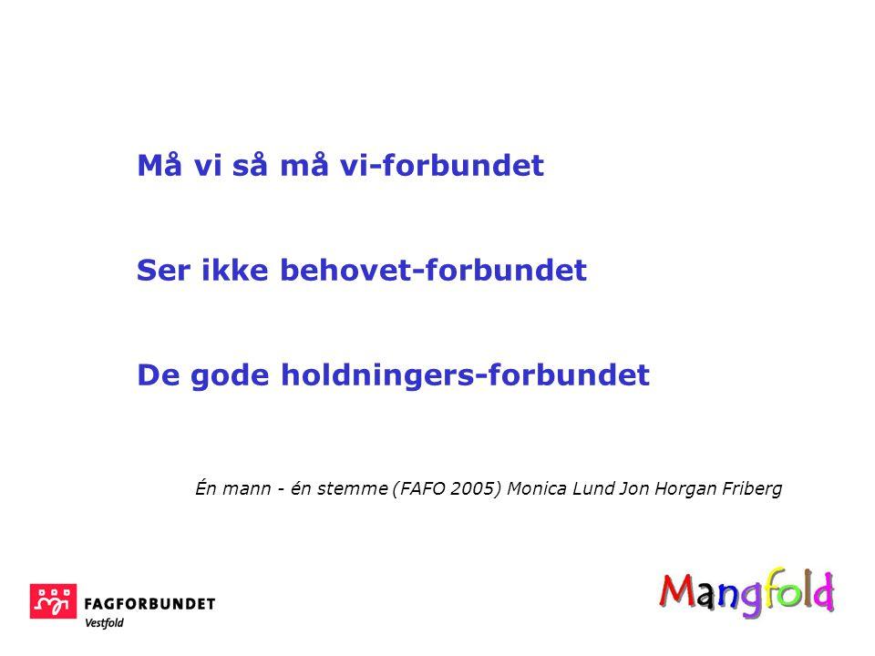 Må vi så må vi-forbundet Ser ikke behovet-forbundet De gode holdningers-forbundet Én mann - én stemme (FAFO 2005) Monica Lund Jon Horgan Friberg