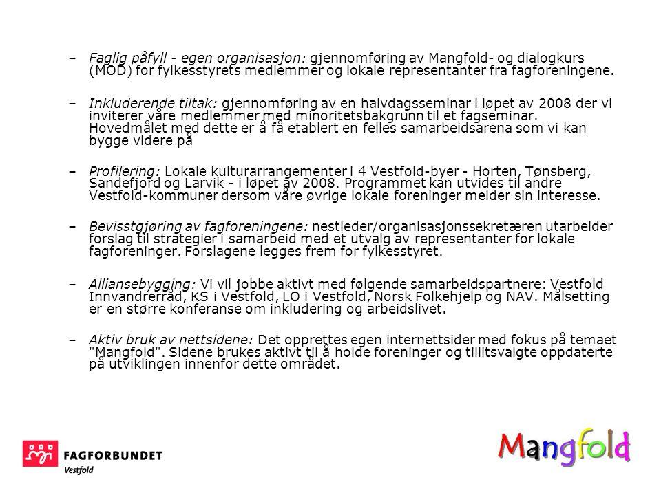 –Faglig påfyll - egen organisasjon: gjennomføring av Mangfold- og dialogkurs (MOD) for fylkesstyrets medlemmer og lokale representanter fra fagforeningene.