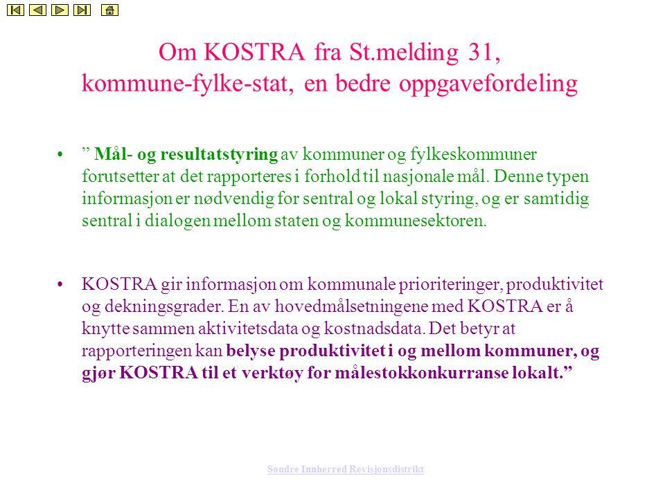 Søndre Innherred Revisjonsdistrikt Om KOSTRA fra St.melding 31, kommune-fylke-stat, en bedre oppgavefordeling Mål- og resultatstyring av kommuner og fylkeskommuner forutsetter at det rapporteres i forhold til nasjonale mål.