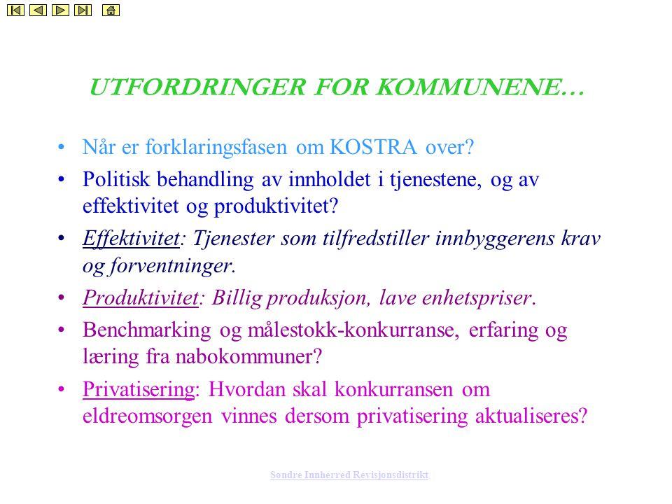 Søndre Innherred Revisjonsdistrikt UTFORDRINGER FOR KOMMUNENE… Når er forklaringsfasen om KOSTRA over.