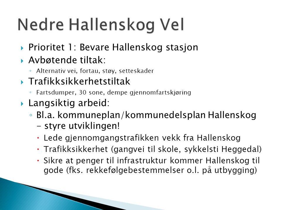  Prioritet 1: Bevare Hallenskog stasjon  Avbøtende tiltak: ◦ Alternativ vei, fortau, støy, setteskader  Trafikksikkerhetstiltak ◦ Fartsdumper, 30 sone, dempe gjennomfartskjøring  Langsiktig arbeid: ◦ Bl.a.