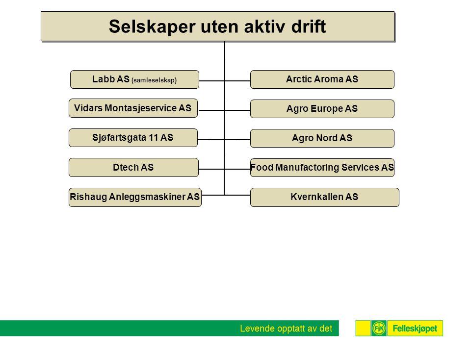 Selskaper uten aktiv drift Arctic Aroma AS Agro Europe AS Agro Nord AS Labb AS (samleselskap) Vidars Montasjeservice AS Food Manufactoring Services AS