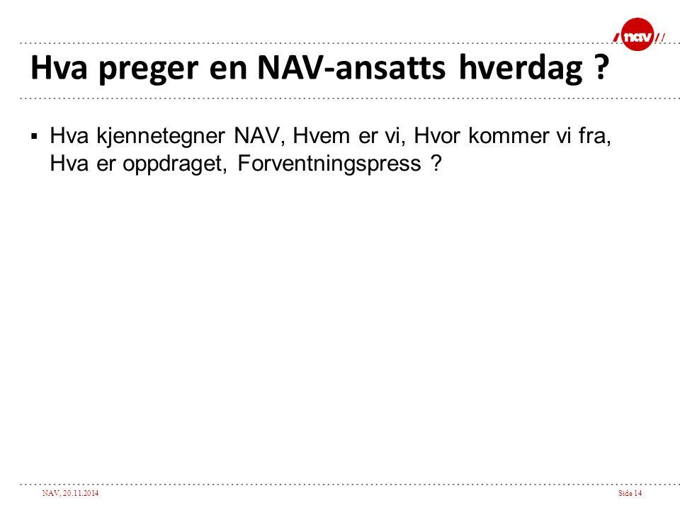 NAV, 20.11.2014Side 14 Hva preger en NAV-ansatts hverdag ?  Hva kjennetegner NAV, Hvem er vi, Hvor kommer vi fra, Hva er oppdraget, Forventningspress