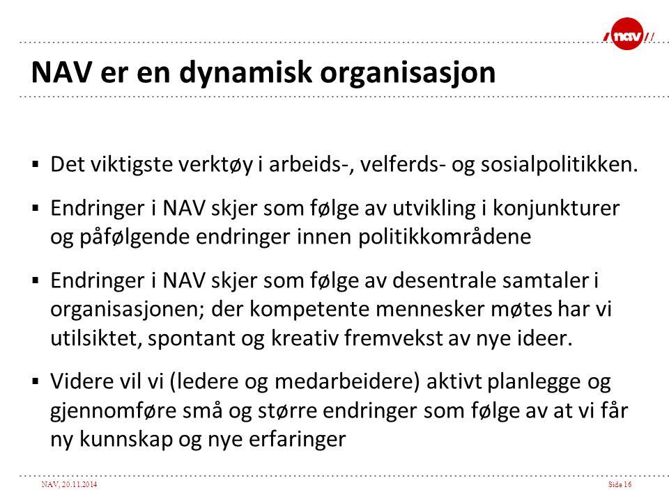 NAV, 20.11.2014Side 16 NAV er en dynamisk organisasjon  Det viktigste verktøy i arbeids-, velferds- og sosialpolitikken.  Endringer i NAV skjer som