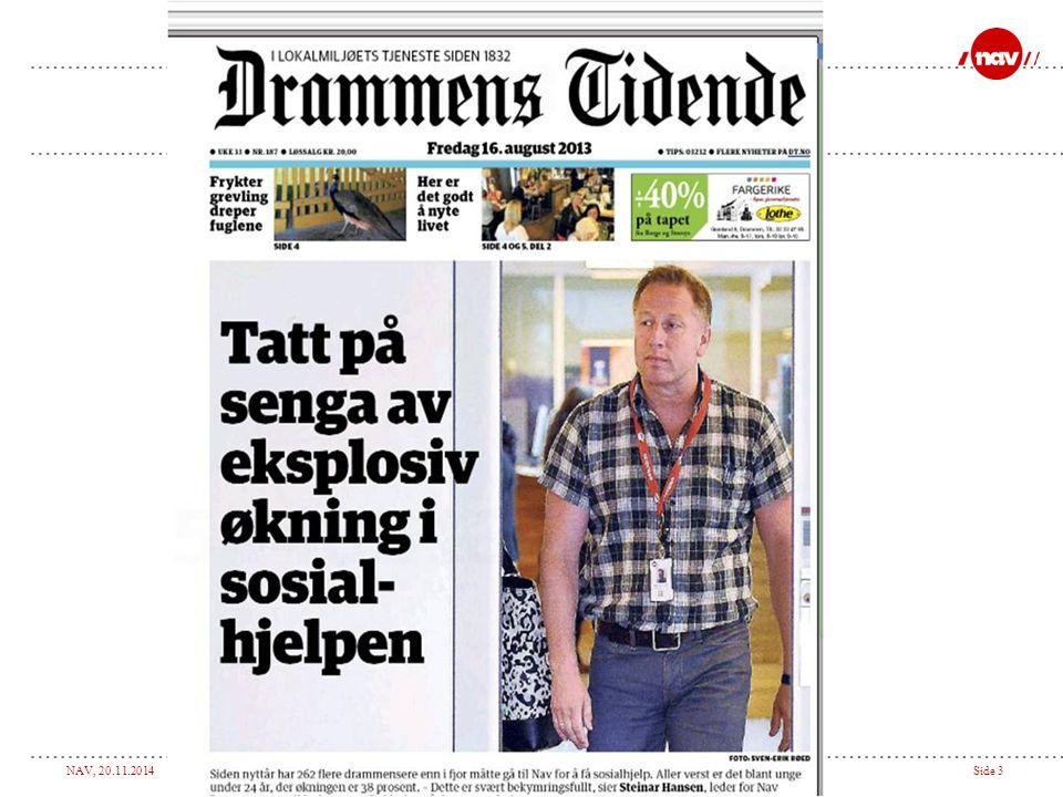 NAV, 20.11.2014Side 4 Hva var situasjonen i NAV Drammen…  Budsjettsprekk  Revidert budsjett 1.