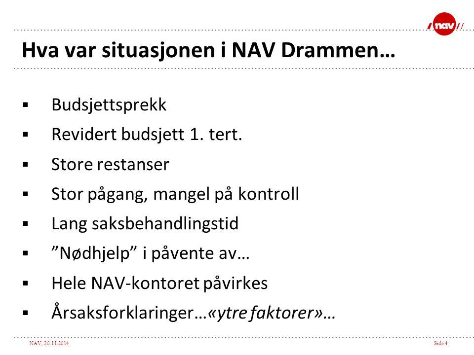 NAV, 20.11.2014Side 4 Hva var situasjonen i NAV Drammen…  Budsjettsprekk  Revidert budsjett 1. tert.  Store restanser  Stor pågang, mangel på kont