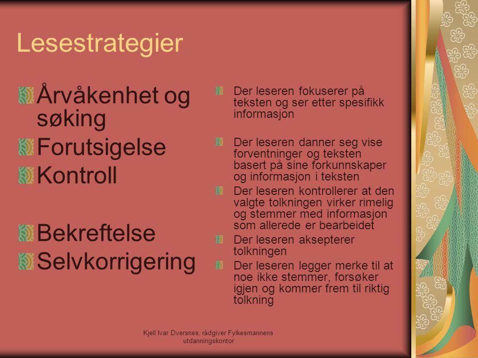 Kjell Ivar Dversnes, rådgiver Fylkesmannens utdanningskontor Lesestrategier Årvåkenhet og søking Forutsigelse Kontroll Bekreftelse Selvkorrigering Der