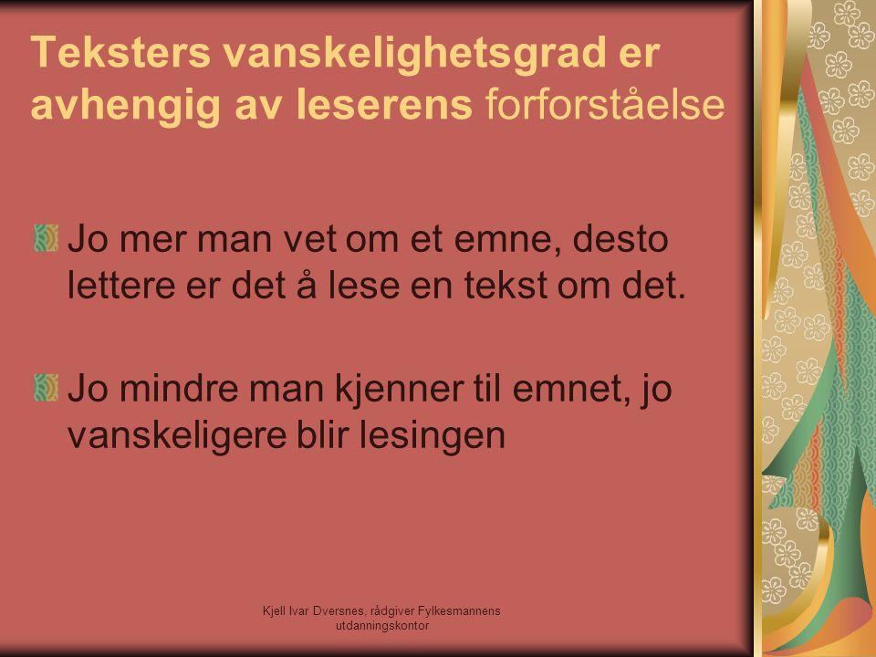 Kjell Ivar Dversnes, rådgiver Fylkesmannens utdanningskontor Teksters vanskelighetsgrad er avhengig av leserens forforståelse Jo mer man vet om et emn