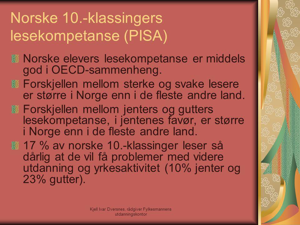 Kjell Ivar Dversnes, rådgiver Fylkesmannens utdanningskontor Norske 10.-klassingers lesekompetanse (PISA) Norske elevers lesekompetanse er middels god