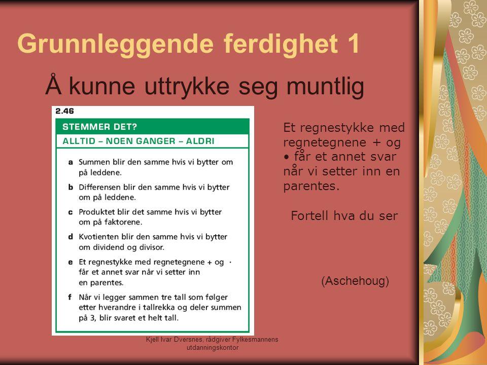 Kjell Ivar Dversnes, rådgiver Fylkesmannens utdanningskontor Grunnleggende ferdighet 1 Å kunne uttrykke seg muntlig Et regnestykke med regnetegnene +
