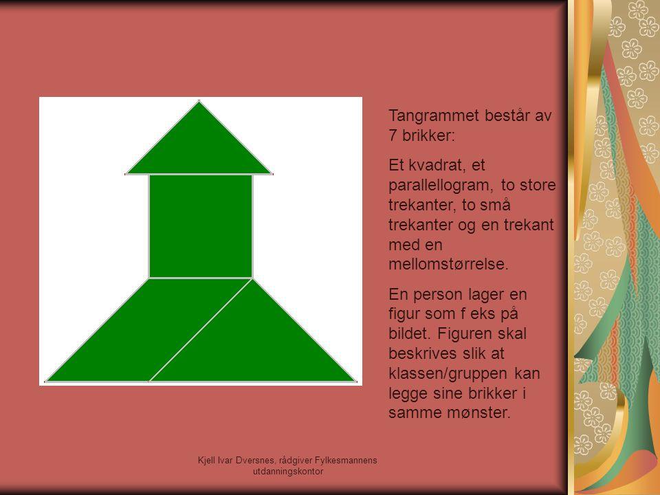 Kjell Ivar Dversnes, rådgiver Fylkesmannens utdanningskontor Tangrammet består av 7 brikker: Et kvadrat, et parallellogram, to store trekanter, to små