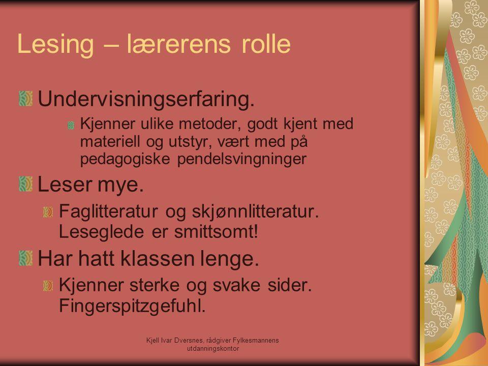 Kjell Ivar Dversnes, rådgiver Fylkesmannens utdanningskontor Lesing – lærerens rolle Undervisningserfaring. Kjenner ulike metoder, godt kjent med mate