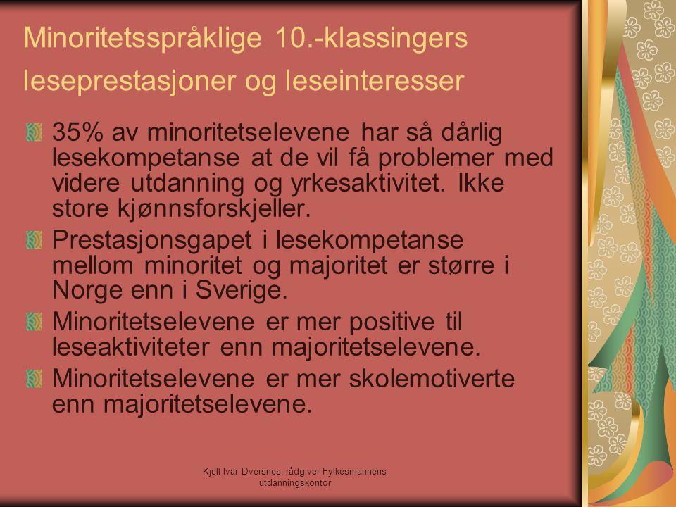 Kjell Ivar Dversnes, rådgiver Fylkesmannens utdanningskontor Minoritetsspråklige 10.-klassingers leseprestasjoner og leseinteresser 35% av minoritetse