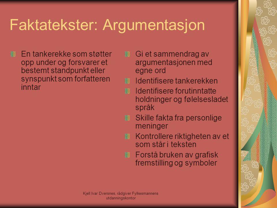 Kjell Ivar Dversnes, rådgiver Fylkesmannens utdanningskontor Faktatekster: Argumentasjon En tankerekke som støtter opp under og forsvarer et bestemt s