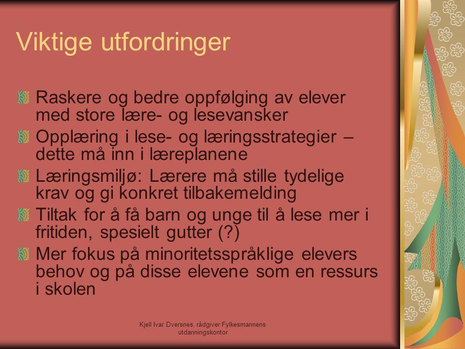 Kjell Ivar Dversnes, rådgiver Fylkesmannens utdanningskontor Lesing – lærerens rolle Undervisningserfaring.