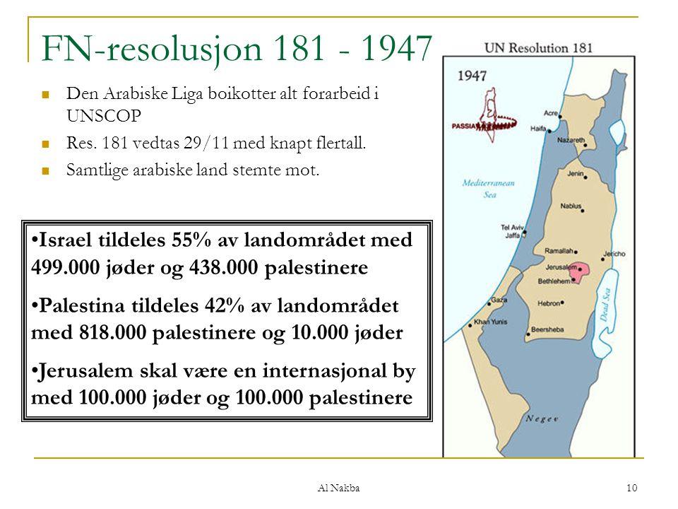 Al Nakba 10 FN-resolusjon 181 - 1947 Den Arabiske Liga boikotter alt forarbeid i UNSCOP Res. 181 vedtas 29/11 med knapt flertall. Samtlige arabiske la