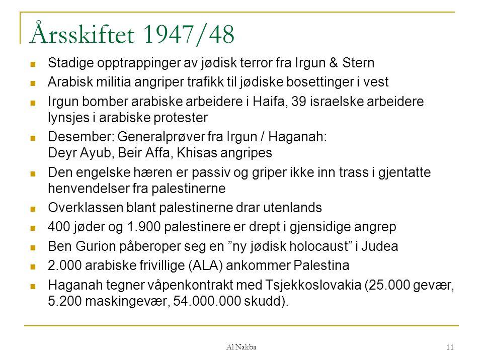 Al Nakba 11 Årsskiftet 1947/48 Stadige opptrappinger av jødisk terror fra Irgun & Stern Arabisk militia angriper trafikk til jødiske bosettinger i ves