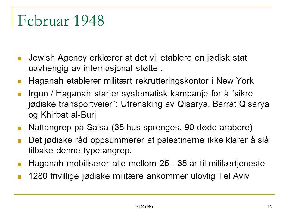 Al Nakba 13 Februar 1948 Jewish Agency erklærer at det vil etablere en jødisk stat uavhengig av internasjonal støtte. Haganah etablerer militært rekru