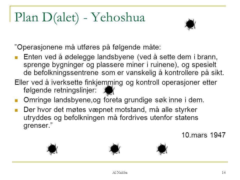 """Al Nakba 14 Plan D(alet) - Yehoshua """"Operasjonene må utføres på følgende måte: Enten ved å ødelegge landsbyene (ved å sette dem i brann, sprenge bygni"""