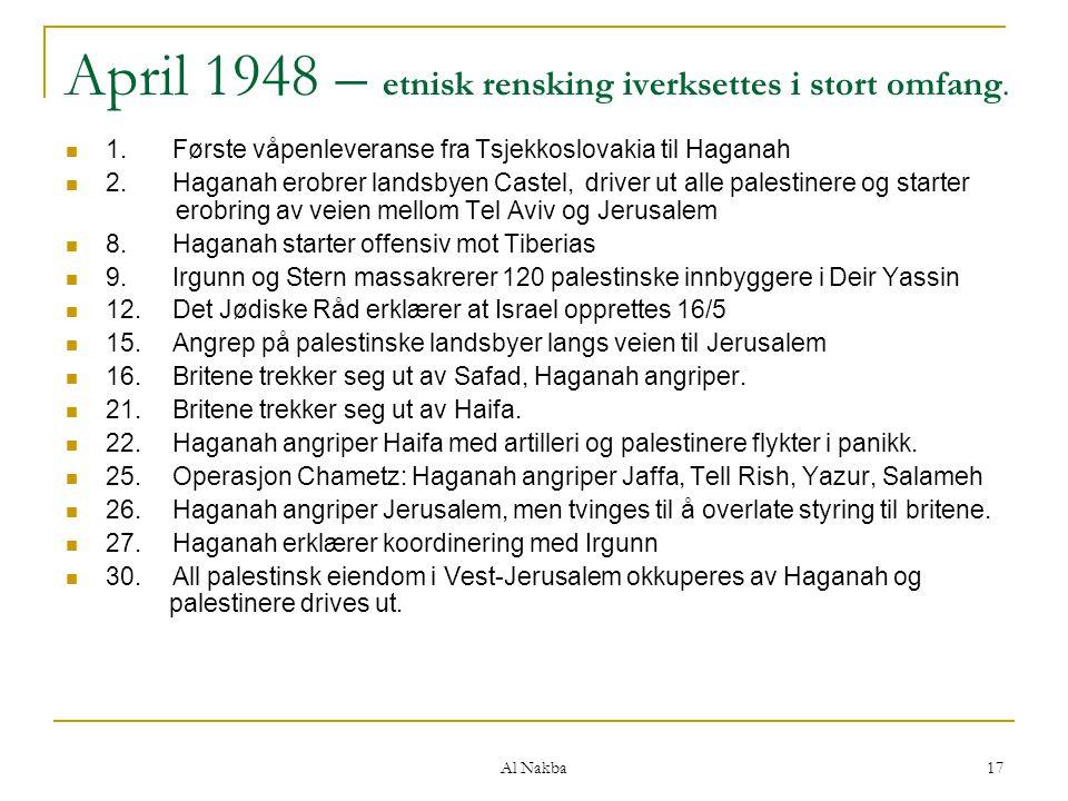 Al Nakba 17 April 1948 – etnisk rensking iverksettes i stort omfang. 1.Første våpenleveranse fra Tsjekkoslovakia til Haganah 2.Haganah erobrer landsby