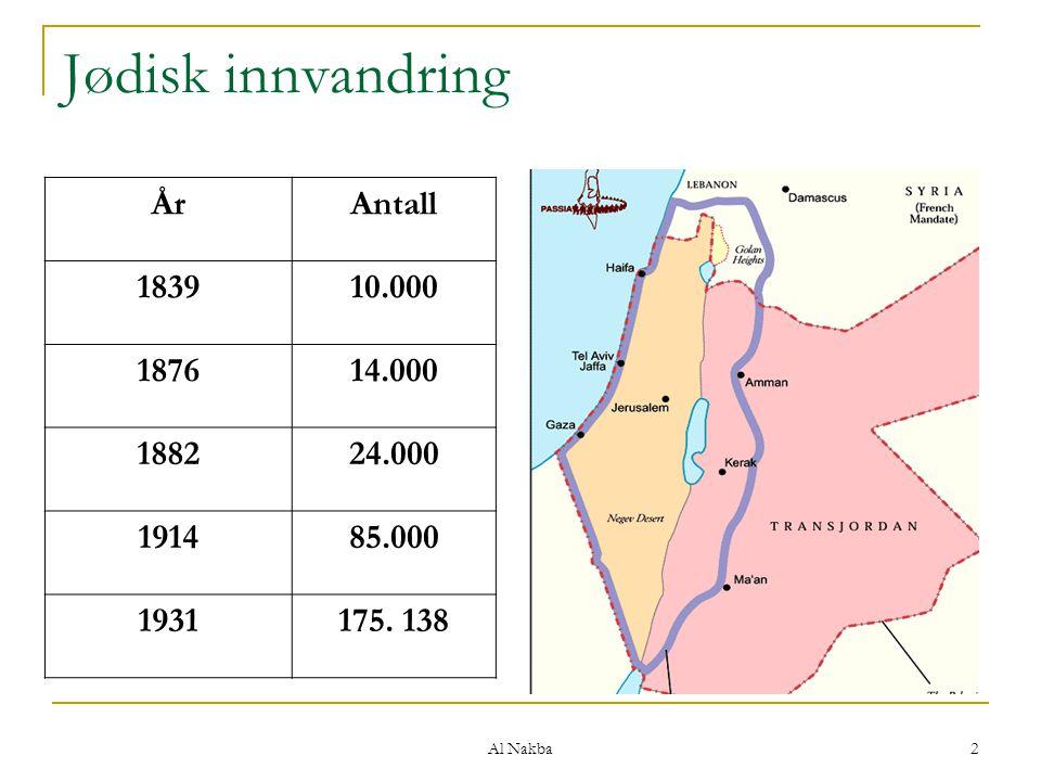 Al Nakba 3 Det arabiske opprøret (1936 – 1939) Opprør mot britene – angrep på jøder & briter Britene organiserer 20.000 jødisk militia Brutal undertrykking av arabere 5.000 døde og 10.000 skadde arabere 10% av voksne arabiske menn drept, fordrevet, fengslet 400 jøder og 200 briter drept 13.200 rifler beslaglagt fra arabere, 521 fra jøder Omfattende jødisk registrering av palestinsk militans Arabisk nasjonal, sosial og militær samhandling sterkt svekket