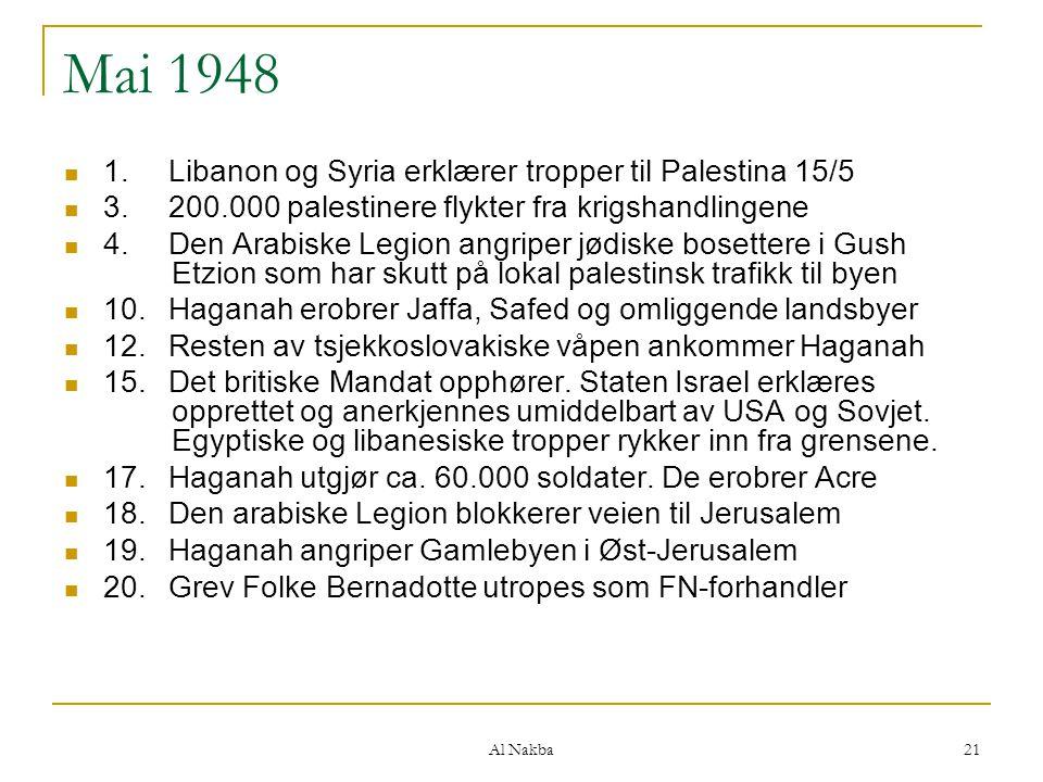 Al Nakba 21 Mai 1948 1.Libanon og Syria erklærer tropper til Palestina 15/5 3.200.000 palestinere flykter fra krigshandlingene 4.Den Arabiske Legion a