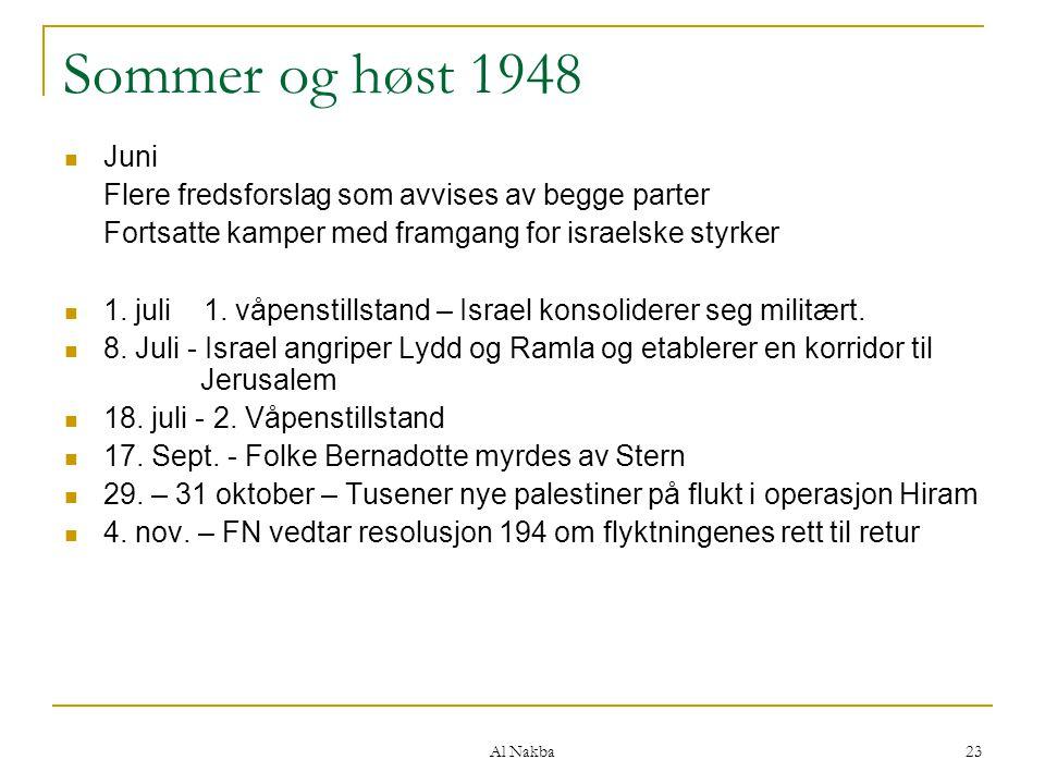 Al Nakba 23 Sommer og høst 1948 Juni Flere fredsforslag som avvises av begge parter Fortsatte kamper med framgang for israelske styrker 1. juli 1. våp