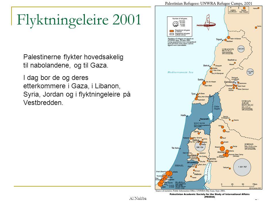 Al Nakba 27 Flyktningeleire 2001 Palestinerne flykter hovedsakelig til nabolandene, og til Gaza. I dag bor de og deres etterkommere i Gaza, i Libanon,