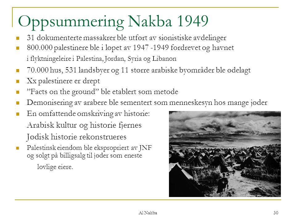 Al Nakba 30 Oppsummering Nakba 1949 31 dokumenterte massakrer ble utført av sionistiske avdelinger 800.000 palestinere ble i løpet av 1947 -1949 fordr
