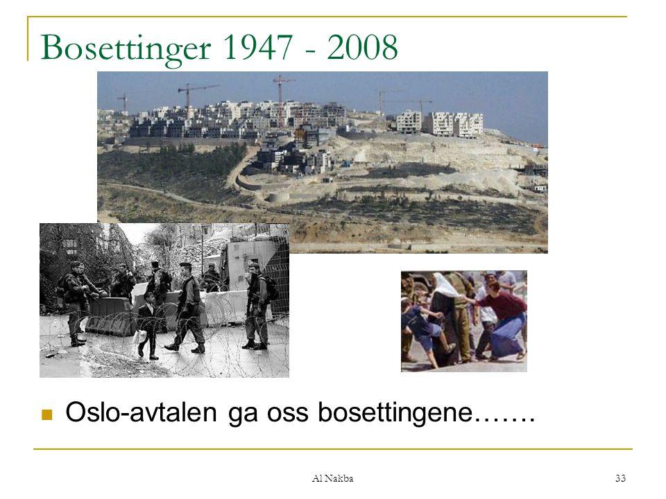 Al Nakba 33 Bosettinger 1947 - 2008 Oslo-avtalen ga oss bosettingene…….