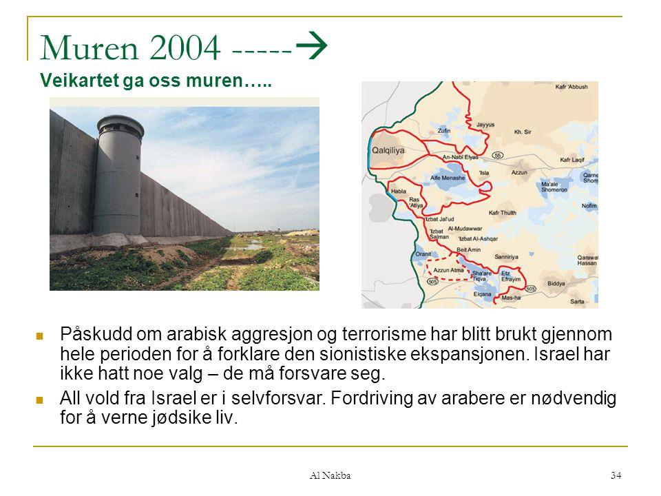 Al Nakba 34 Muren 2004 -----  Veikartet ga oss muren….. Påskudd om arabisk aggresjon og terrorisme har blitt brukt gjennom hele perioden for å forkla