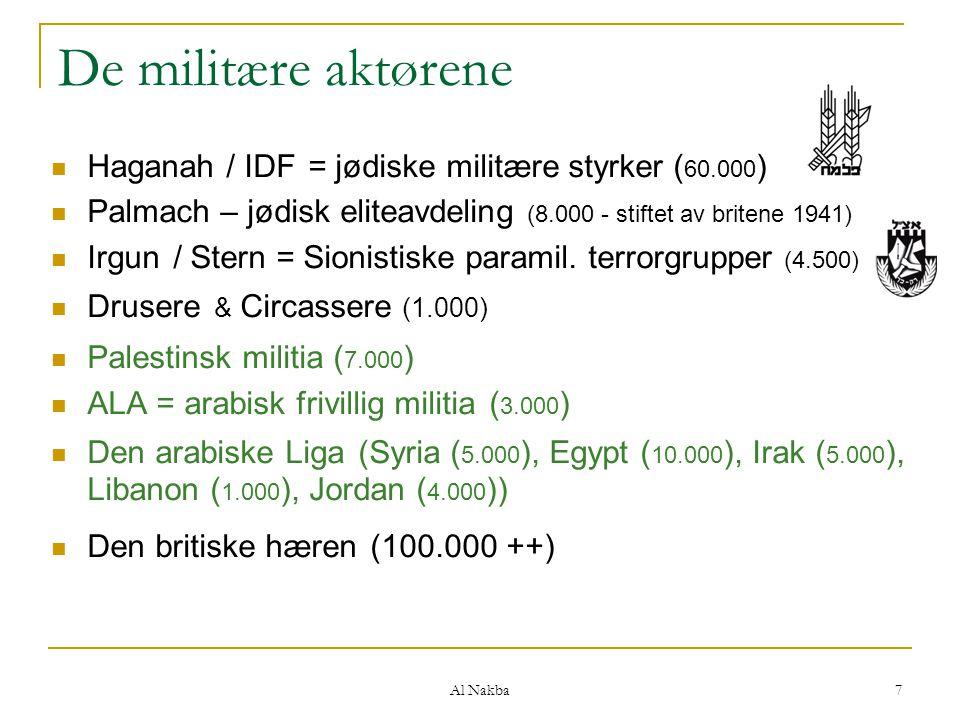 Al Nakba 7 De militære aktørene Haganah / IDF = jødiske militære styrker ( 60.000 ) Palmach – jødisk eliteavdeling (8.000 - stiftet av britene 1941) I