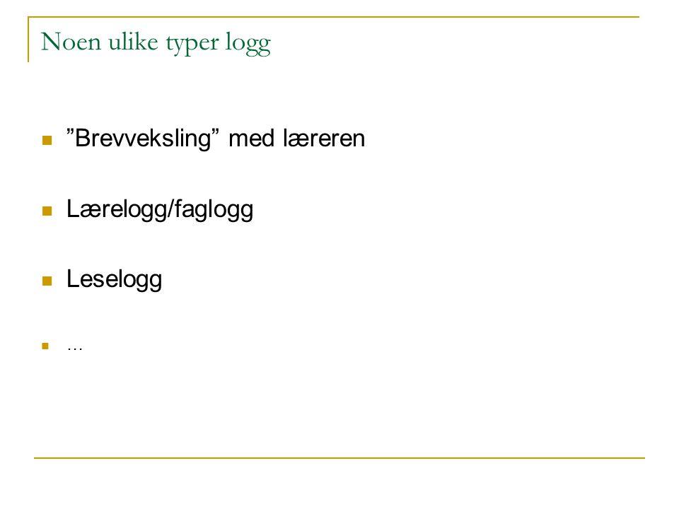 """Noen ulike typer logg """"Brevveksling"""" med læreren Lærelogg/faglogg Leselogg …"""