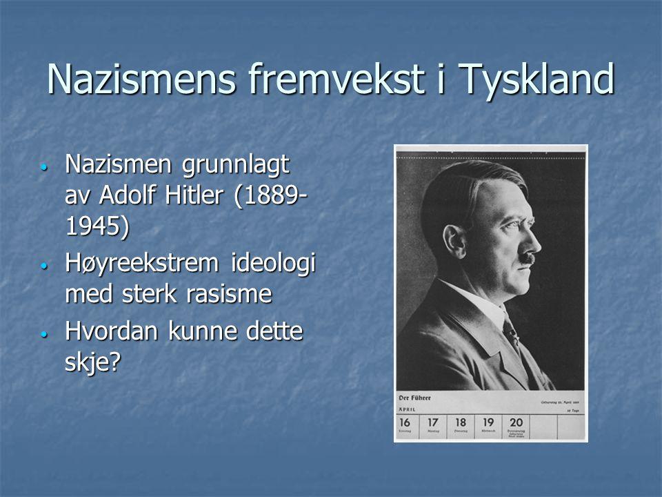 Nazismens fremvekst i Tyskland Nazismen grunnlagt av Adolf Hitler (1889- 1945) Nazismen grunnlagt av Adolf Hitler (1889- 1945) Høyreekstrem ideologi m