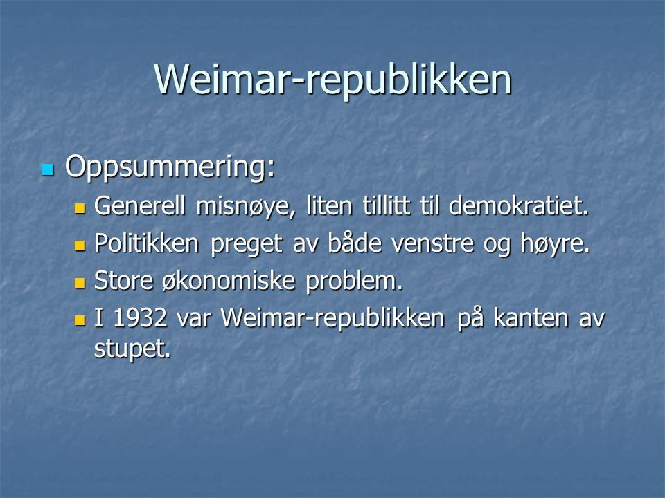 Weimar-republikken Oppsummering: Oppsummering: Generell misnøye, liten tillitt til demokratiet. Generell misnøye, liten tillitt til demokratiet. Polit