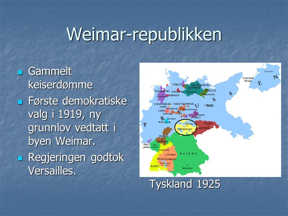 Weimar-republikken Gammelt keiserdømme Gammelt keiserdømme Første demokratiske valg i 1919, ny grunnlov vedtatt i byen Weimar. Første demokratiske val