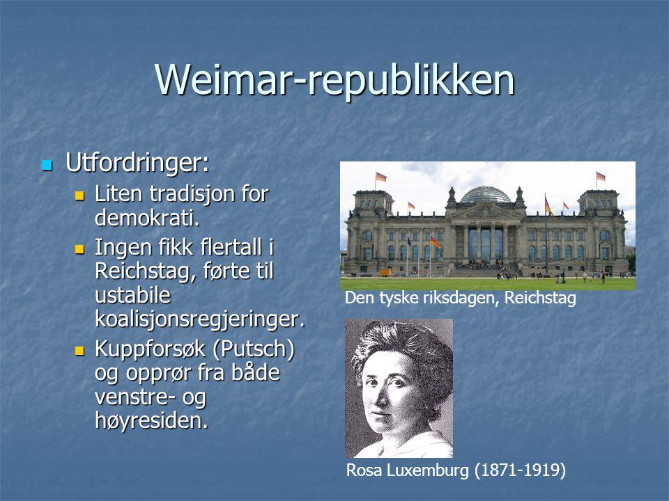 Weimar-republikken Utfordringer: Utfordringer: Liten tradisjon for demokrati. Liten tradisjon for demokrati. Ingen fikk flertall i Reichstag, førte ti