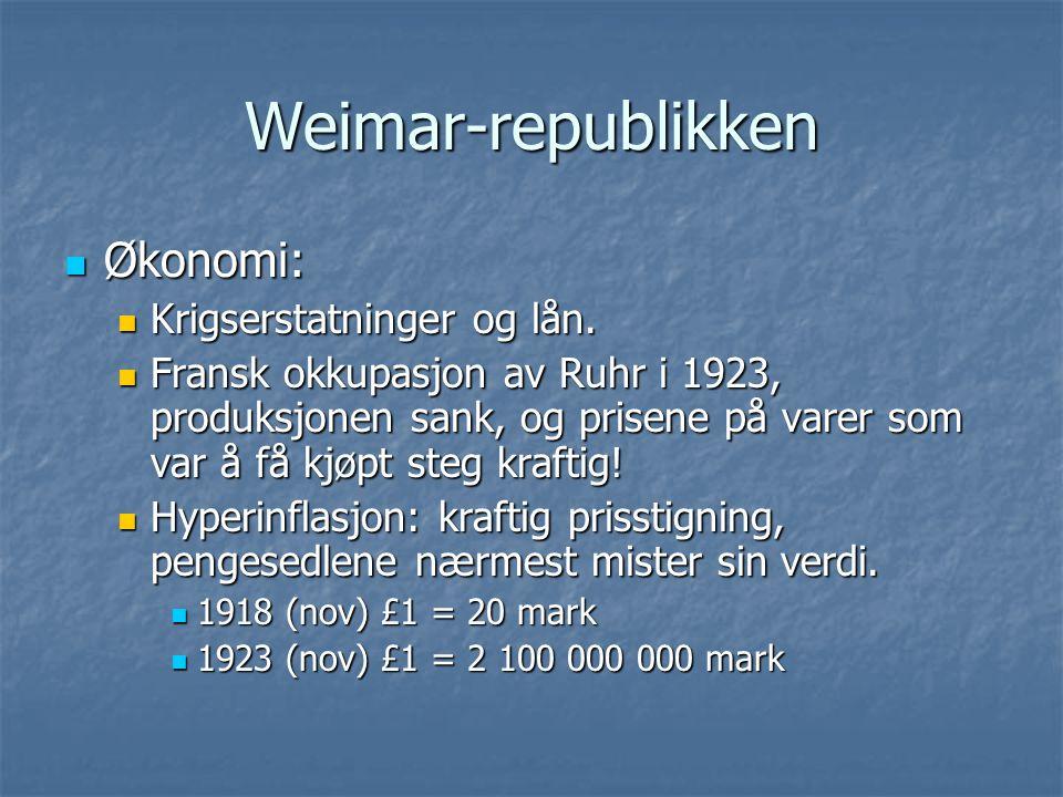 Weimar-republikken Økonomi: Økonomi: Krigserstatninger og lån. Krigserstatninger og lån. Fransk okkupasjon av Ruhr i 1923, produksjonen sank, og prise