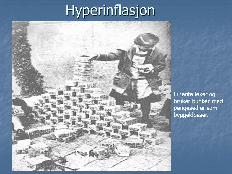 Hyperinflasjon Ei jente leker og bruker bunker med pengesedler som byggeklosser.