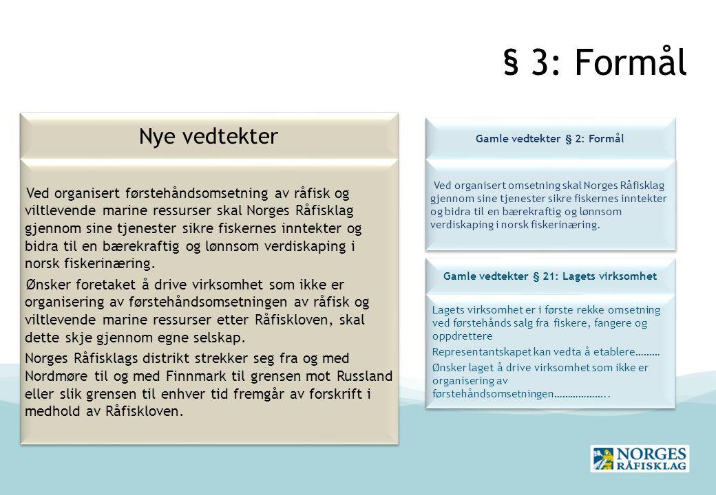 § 3: Formål Nye vedtekter Gamle vedtekter § 2: Formål Ved organisert omsetning skal Norges Råfisklag gjennom sine tjenester sikre fiskernes inntekter og bidra til en bærekraftig og lønnsom verdiskaping i norsk fiskerinæring.