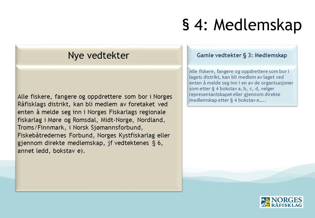 § 4: Medlemskap Nye vedtekter Gamle vedtekter § 3: Medlemskap Alle fiskere, fangere og oppdrettere som bor i lagets distrikt, kan bli medlem av laget ved enten å melde seg inn i en av de organisasjoner som etter § 4 bokstav a, b, c, d, velger representantskapet eller gjennom direkte medlemskap etter § 4 bokstav e…..