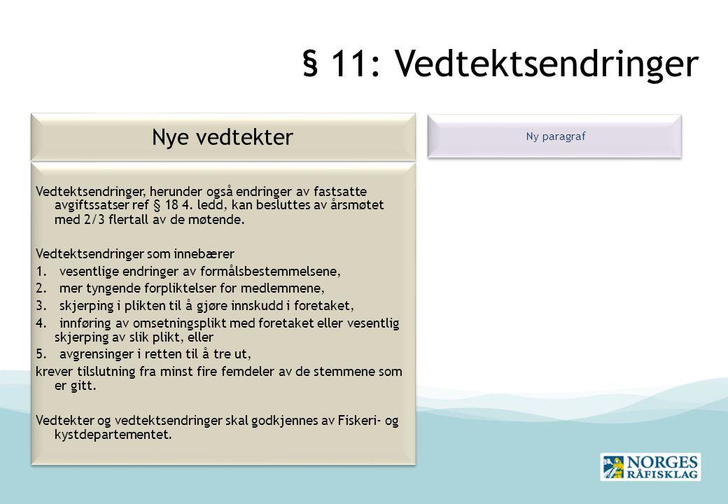 § 11: Vedtektsendringer Nye vedtekter Ny paragraf Vedtektsendringer, herunder også endringer av fastsatte avgiftssatser ref § 18 4.