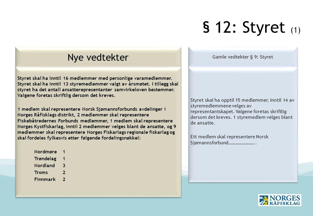 § 12: Styret (1) Nye vedtekter Gamle vedtekter § 9: Styret Styret skal ha opptil 15 medlemmer.