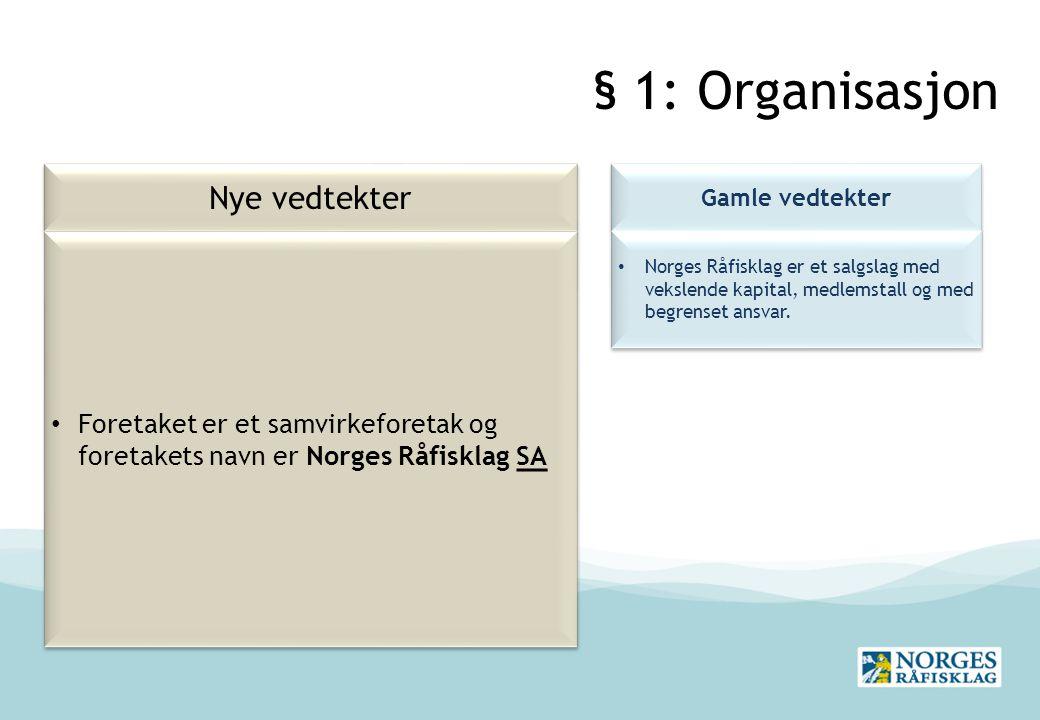 § 1: Organisasjon Nye vedtekter Gamle vedtekter Norges Råfisklag er et salgslag med vekslende kapital, medlemstall og med begrenset ansvar.