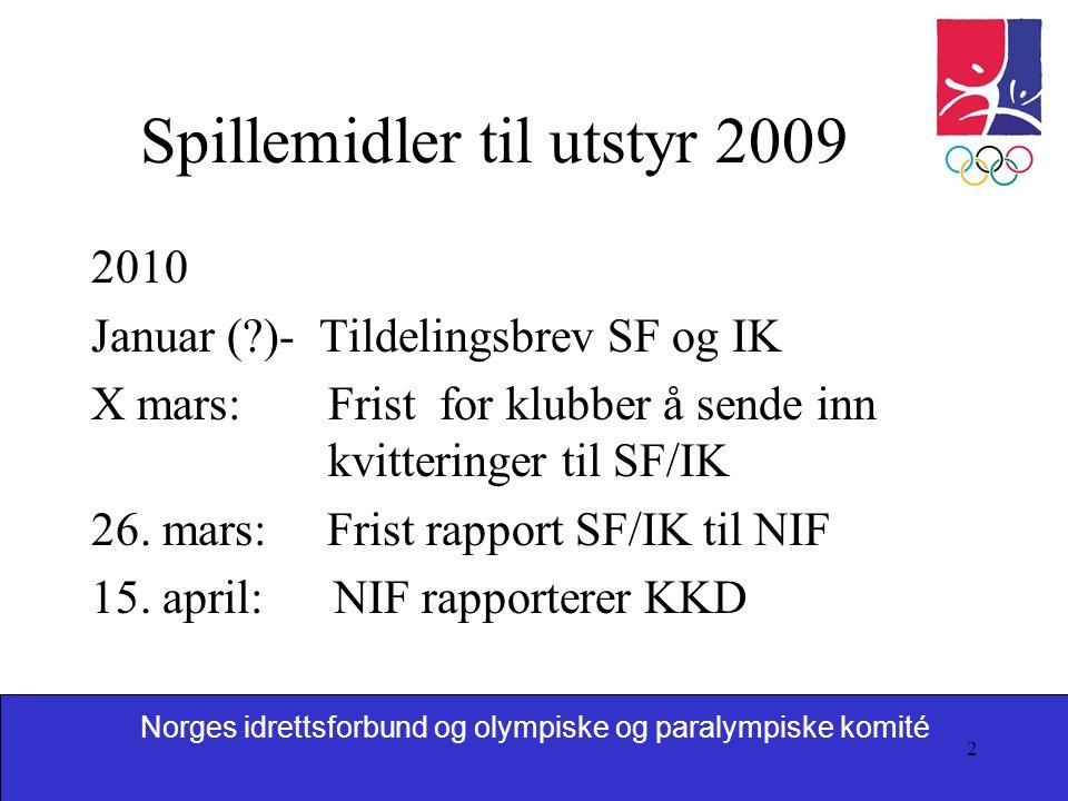 2 Spillemidler til utstyr 2009 2010 Januar ( )- Tildelingsbrev SF og IK X mars: Frist for klubber å sende inn kvitteringer til SF/IK 26.